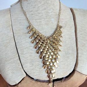 Vintage gold waterfall bib statement necklace